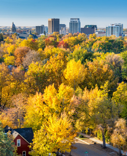 Boise, Idaho in distance of fall setting