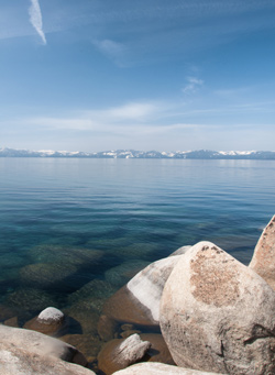 Landscape during winter time at Lake Tahoe in Nevada near Reno
