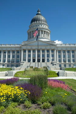 A view of Utah State Capitol during the day in Salt Lake City